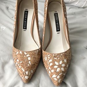 Alice + Olivia laser cut cork & white canvas